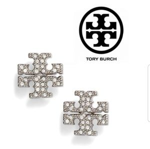 ■Tory Burch■ Silver Crystal Logo Earrings